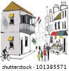 Vector drawing of street scene showing old buildings in French town with pedestrians. - stock photo