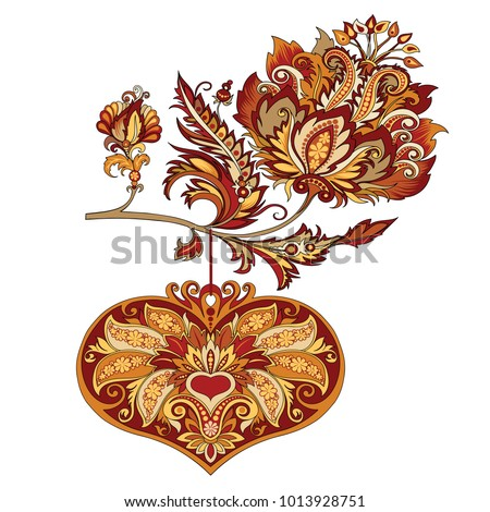 vector drawing of the branches of flowers with hearts in vintage style with ornaments in red and golden tones, a beautiful illustration for Valentine's Day