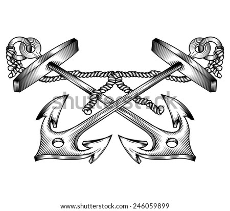 Vector drawing of two / Crossed Anchors line drawing / Easy to edit , no meshes, effects or gradients used. - stock vector
