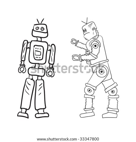 Vector drawing of two robots in different poses. - stock vector