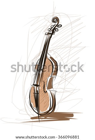Vector drawing of violin - stock vector