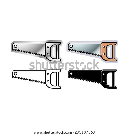 vector drawing of wood hand saw