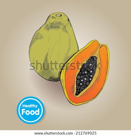 Vector drawing papaya