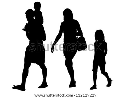 Vector drawing parents and child