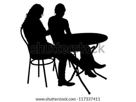 Vector drawing people in cafes. Silhouettes of people in urban life - stock vector