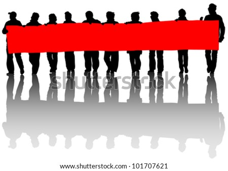 Vector drawing people whit big banner - stock vector