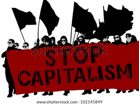 Vector drawing people whit red banner - stock vector