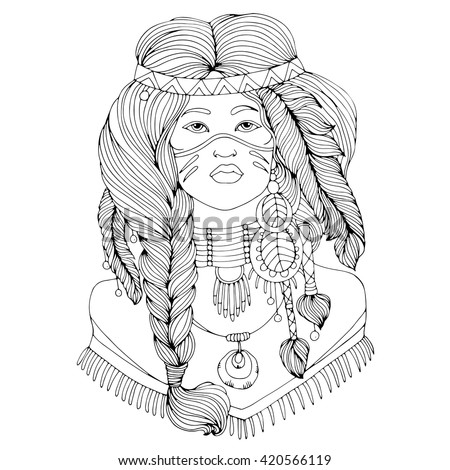 Vector drawing portrait of a beautiful young Native American girl with two braided pigtails and feathers in their hair. . Native americans, indian woman. On isolated white background - stock vector