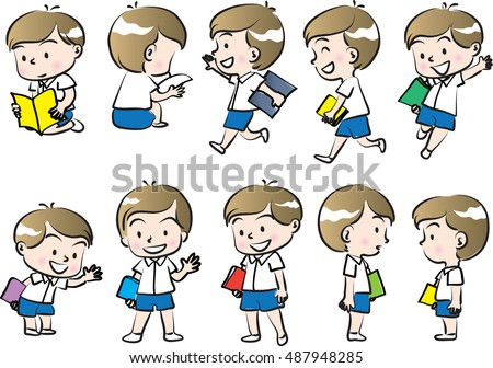 vector drawing school boy holding book