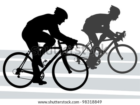 Vector drawing silhouette of a cyclist boy. Silhouette of people - stock vector