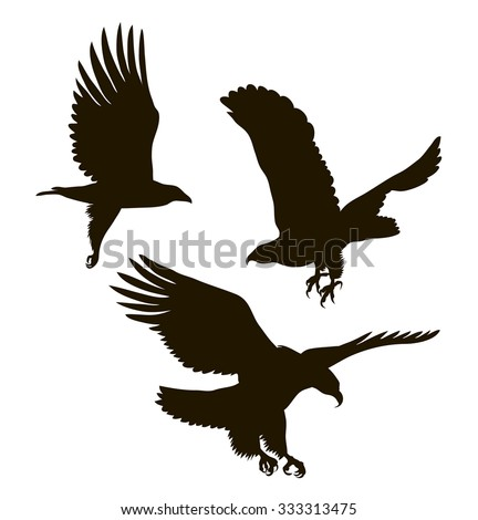 vector drawing silhouettes of three eagles