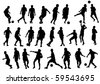 Vector drawing sports football team. Silhouettes on white background - stock vector
