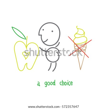 vector drawing stickpeople good food healthy stock vector royalty