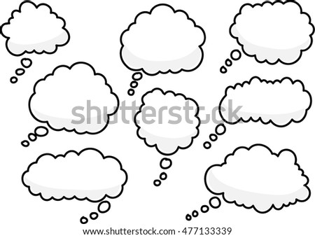vector drawing thinking bubbles