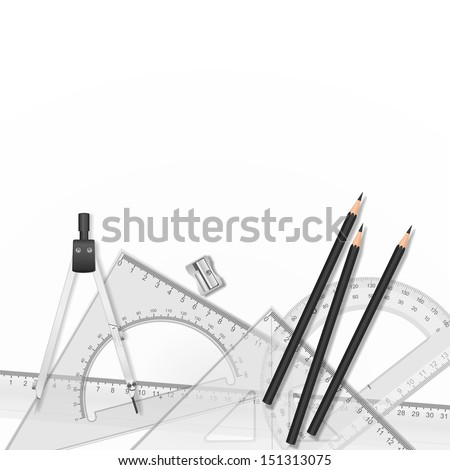 Vector drawing tools. School drawing tools, ruler, pencil, compasses and sharpener on white background - stock vector