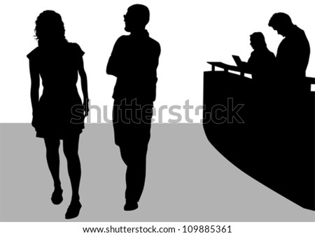Vector drawing visitors and employees at reception - stock vector