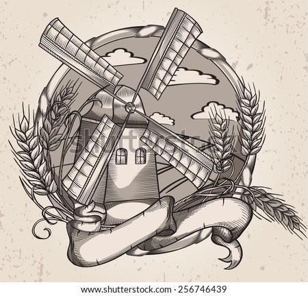 Vector drawing windmill - stock vector