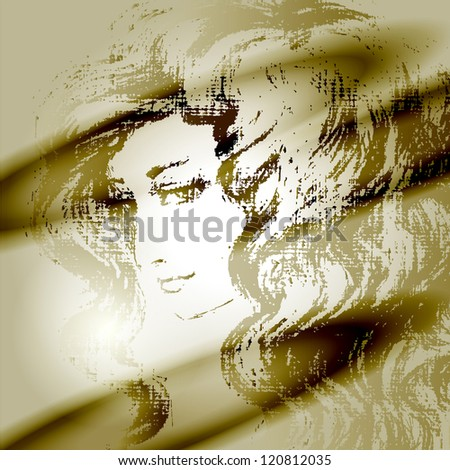 vector drawing with a portrait of the beautiful girl - stock vector