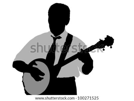 Vector drawing young man whit banjo - stock vector