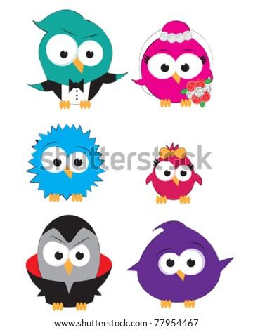 Vector drawings of cute little birds - stock vector