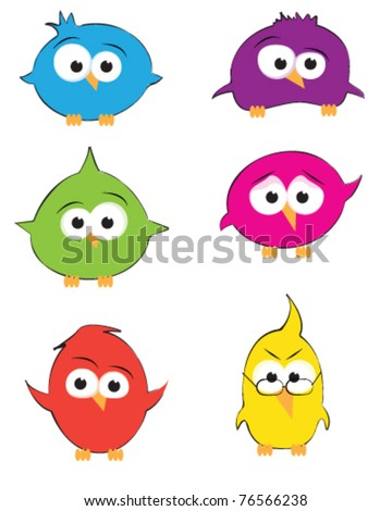 Vector drawings of cute little colourful birds - stock vector