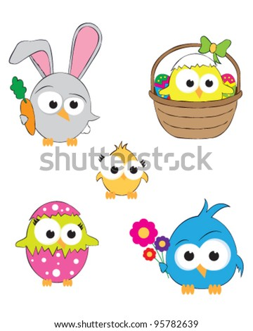 Vector drawings of cute little easter birds - stock vector