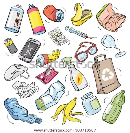 Vector drawings set of waste and garbage for recycling - stock vector