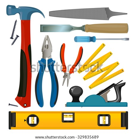 vector-drawn set of tools for repair