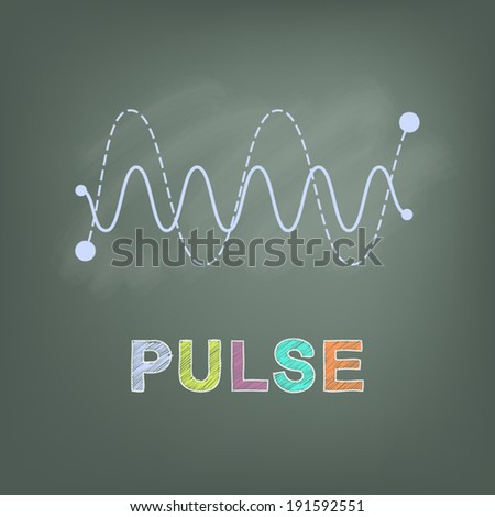 vector drawn wave pulse line on chalkboard, science concept - stock vector