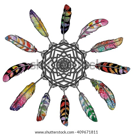 Vector Dream Catcher. Background with abstract feathers isolated, EPS10.
