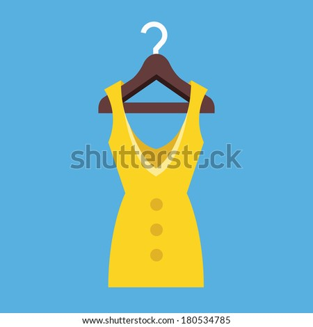 Vector Dress Hanging on Hanger Icon - stock vector