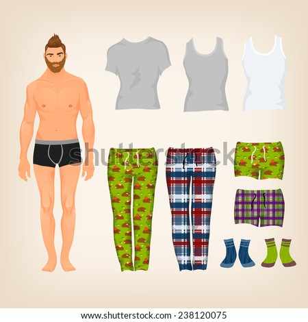 Vector dress up male paper doll with an assortment of freestyle loungewear and pajamas - stock vector