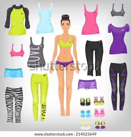 Vector dress up paper doll with an assortment of sports and running fashionable clothes - stock vector