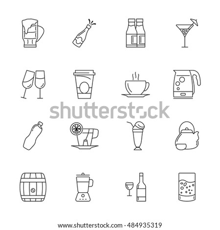 Vector drink icon set, thin line