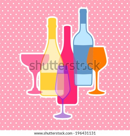 Vector drink menu design with wine bottle and glasses for restaurant, cafe or bar - stock vector