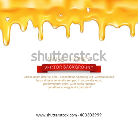 vector drips honey, isolated on white background - stock vector