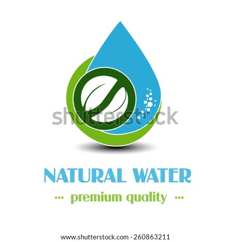 Vector drop symbol with leaf on white background, natural label for mineral water - stock vector
