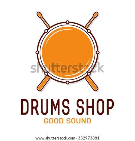 Vector drum icon with sticks. Drum school logo - stock vector