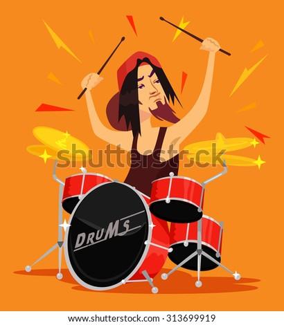 Vector drummer flat illustration - stock vector
