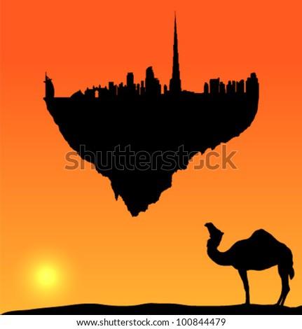 vector Dubai silhouette flying island - stock vector