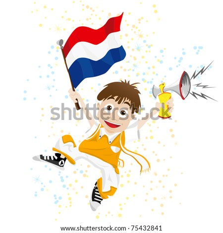 Vector - Dutch Sport Fan with Flag and Horn - stock vector