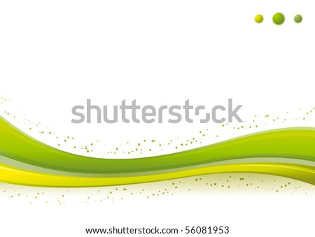 Vector dynamic green Wave/Points background template. - stock vector