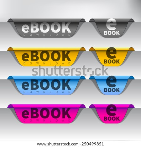 Vector e-book download button - stock vector