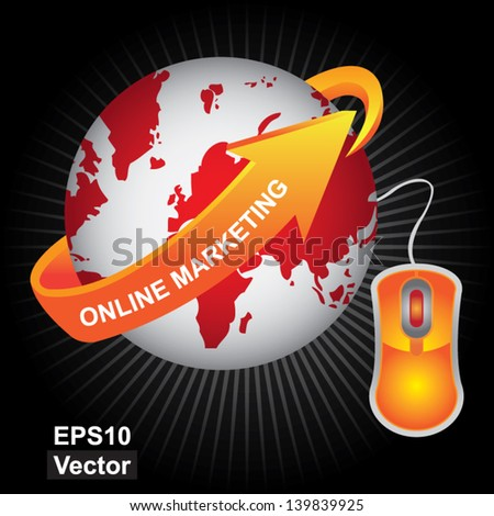 Vector : E-Commerce, Internet, Online Marketing, Online Business or Technology Concept Present By Red Earth With Orange Online Marketing Arrow and Orange Mouse in Dark Shiny Background - stock vector