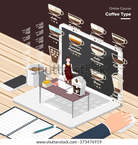 Vector e-learning concept in flat style - digital content coffee type.electronic learning process, awards winning and knowledge elements.  - stock vector