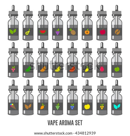 Vector E-Liquid illustration of different flavor. Icons of E-Liquid. The taste of the electronic cigarette. Bottle collection potion silhouette. Juice for vape smoking. Vapor vaping. - stock vector