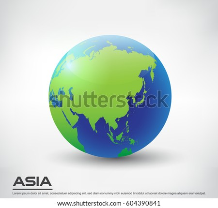 vector earth globe iconworld globe with map of asia