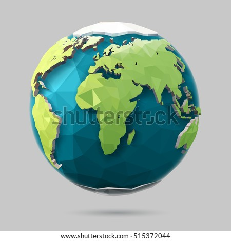 Vector earth globe illustration polygonal planet stock vector vector earth globe illustration polygonal planet low poly design sciox Image collections