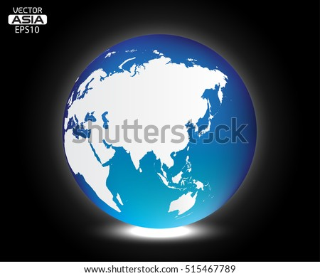 Vector Earth globe.World globe with map of Asia.