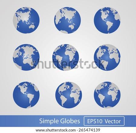Vector Earth Globes. High detail. Version 2015. - stock vector